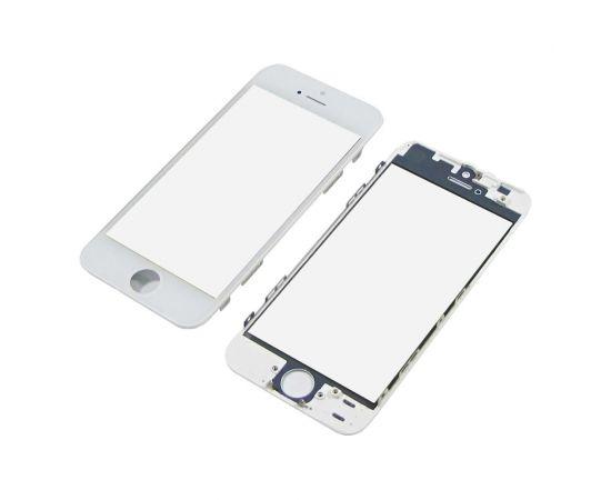 Стекло тачскрина для Apple iPhone 5 белое с рамкой и OCA плёнкой HC