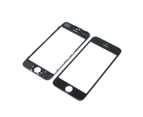 Стекло тачскрина для Apple iPhone 5 чёрное с рамкой и OCA плёнкой HC