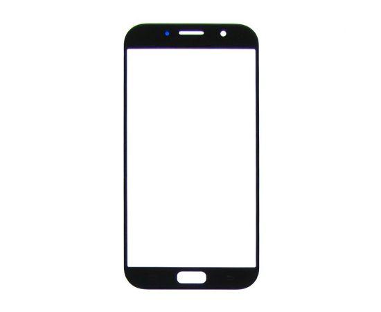 Стекло тачскрина для Samsung A720 Galaxy A7 (2017) чёрное с олеофобным покрытием, закалённое