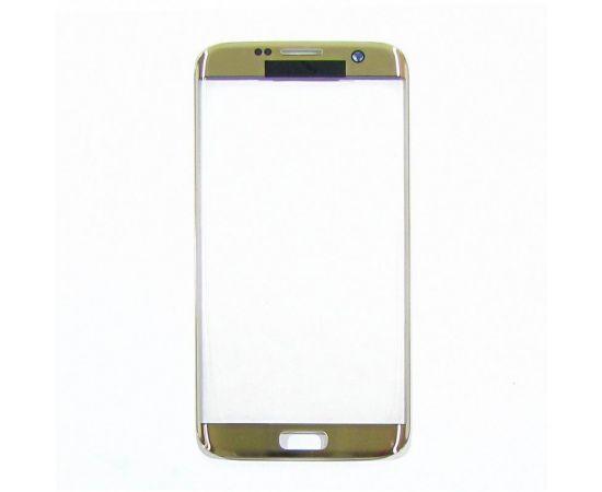 Стекло тачскрина для Samsung G935 Galaxy S7 Edge золотистое с олеофобным покрытием, закалённое HC