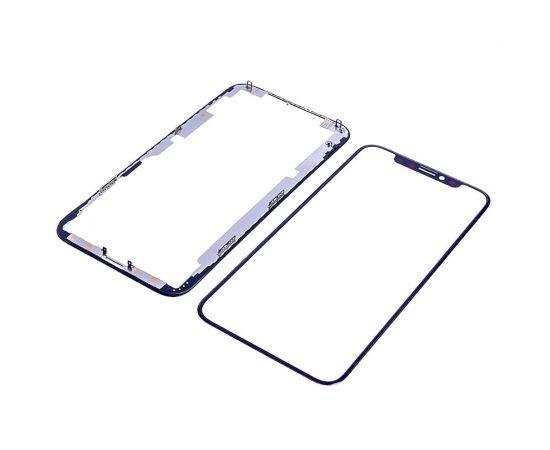 Стекло тачскрина для Apple iPhone XS чёрное с рамкой и OCA плёнкой HC