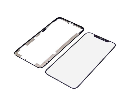 Стекло тачскрина для Apple iPhone XS чёрное с рамкой