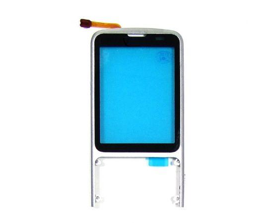 Тачскрин для Nokia C3-01 чёрный с серебристой корпусной рамкой