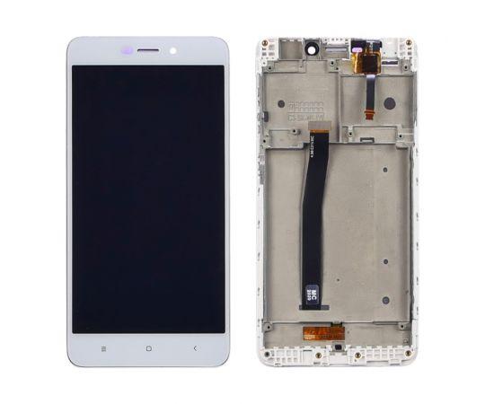 Дисплей для Xiaomi Redmi 4A с белым тачскрином и корпусной рамкой
