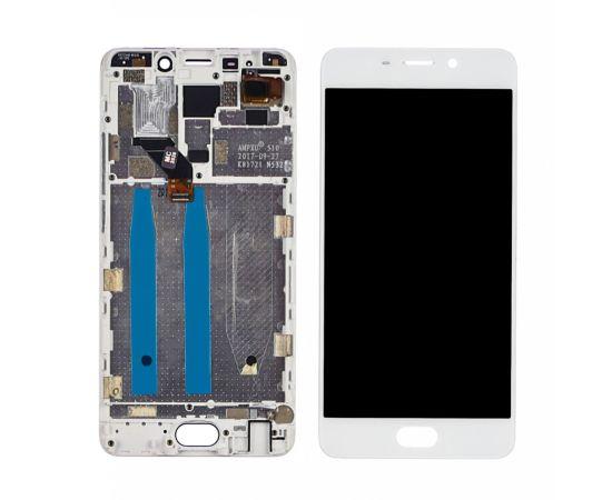 Дисплей для Meizu M6 Note с белым тачскрином и корпусной рамкой