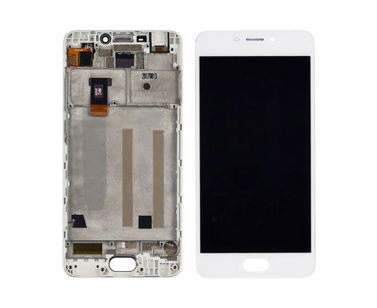 Дисплей для Meizu M6 с белым тачскрином и корпусной рамкой