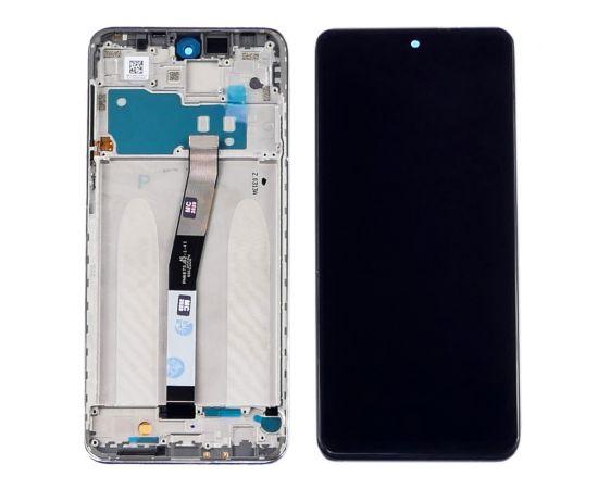 Дисплей для Xiaomi Redmi Note 9S/Note 9 Pro/Note 9 Pro Max с чёрным тачскрином и серебристой корпусной рамкой