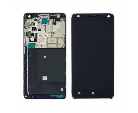 Дисплей для Lenovo S580 с чёрным тачскрином и серебристой корпусной рамкой