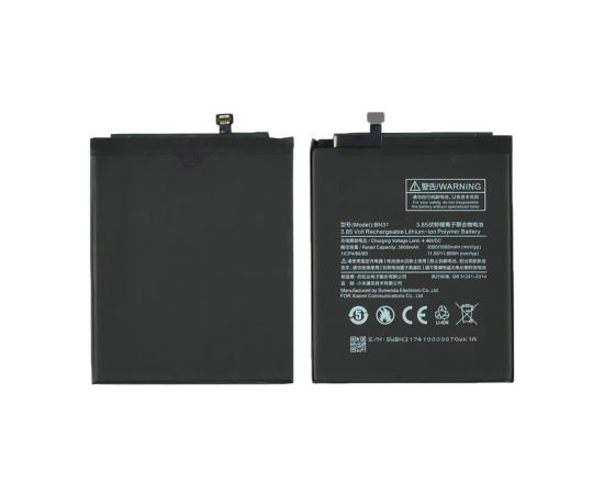 Аккумулятор BN31 для Xiaomi Mi A1/ Mi 5X/ Redmi Note 5A/ Redmi Note 5A Pro AAAA